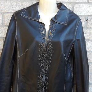 SIZE 38/ M.ESCADA Black Leather Laser Cut blazer